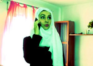 arab woman listening friend on phone